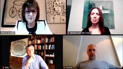 Bullrich, Rodríguez Larreta, Macri y Vidal, en el campus virtual del PRO