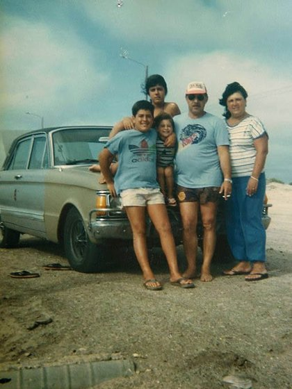 La familia Pérsico durante unas vacaciones