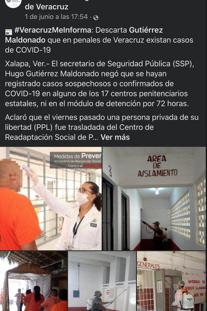 Titular de la SSP negó el registro de casos sospechosos de coronavirus en los centros penitenciarios Foto: captura de pantalla Fb
