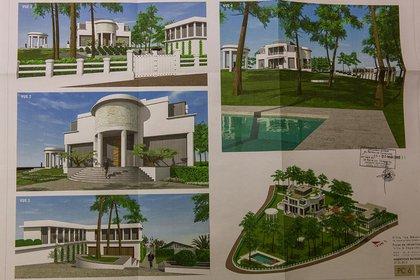 Plano de la reconstrucción de la mansión de la ex esposa de Vladimir Putin, Lyudmila Shkrebneva, en la Riviera francesa.