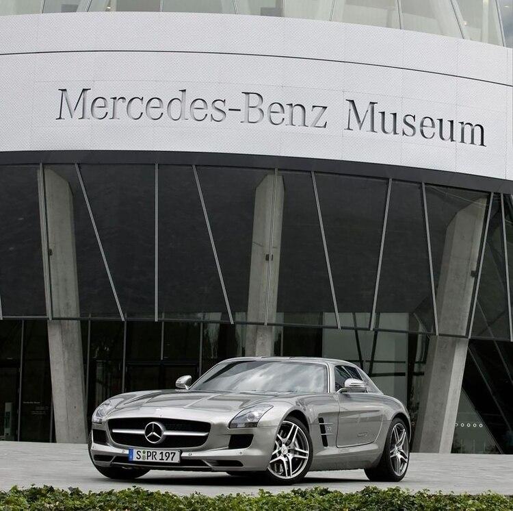 La entrada al Museo de Mercedes-Benz, en Stuttgart.