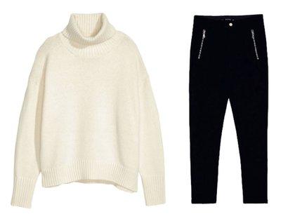 En versión low cost: pantalones Zara ($724) y suéter H&M ($503)