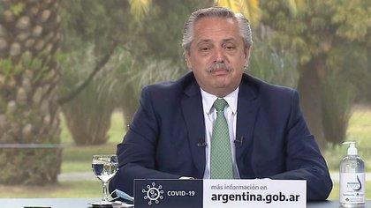 Alberto Fernández, ayer, en la presentación de un programa contra la violencia de género.