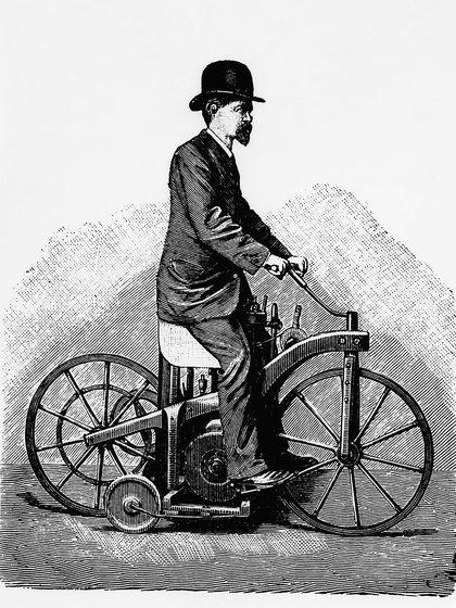 El dibujo que recrea a Daimler sobre el invento que no pensó: la moto.
