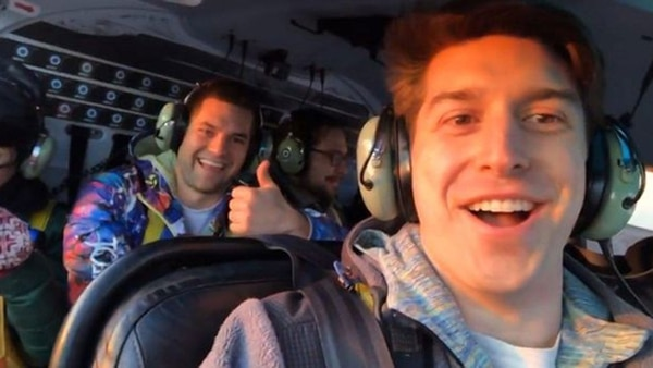 Imagen del video que los pasajeros grabaron en el helicóptero antes del accidente