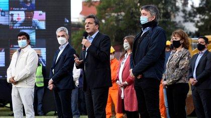Fernando Espinoza, Mario Meoni, Sergio Massa y Máximo Kirchner