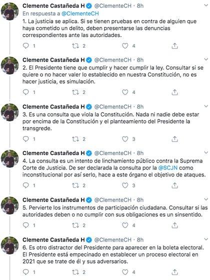 Clemente Castañeda, líder nacional del MC, denunció que el abogado es un intento de matar al público contra la Corte Suprema de Justicia (Imagen: Twitter)
