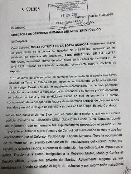 La denuncia de Molly De La Sotta, hermana del CN preso en DGCIM