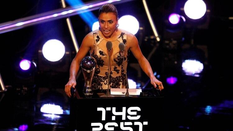La brasileña Marta se quedó con el galardón a la mejor jugadora en 2018 (Reuters)