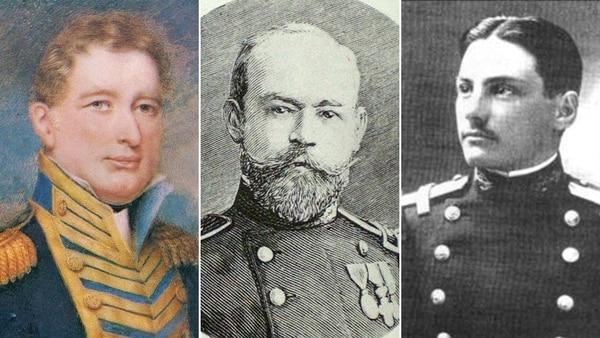 Los marinos Guillermo Brown, Julián Irizar y José María Sobral