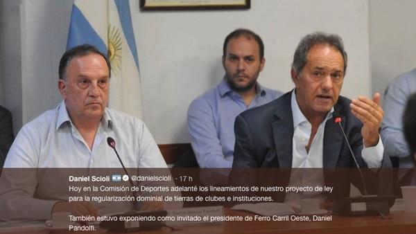 Pandolfi expuso hace pocos días en la comisión de Deportes de Diputados que preside Daniel Scioli (Twitter)