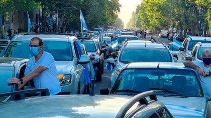 También muchos manifestantes se acercaron en sus vehículos debido a la crisis sanitaria que se vive en el país frente a la pandemia del coronavirus  (Christian Heit)