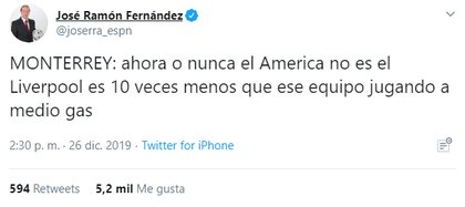 José Ramón Fernández recordó el partido perdido de Monterrey contra el Liverpool (Foto: Captura de Pantalla de Twitter @joserra_espn)