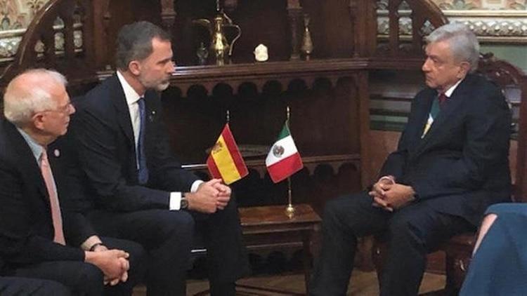 AMLO en reunión con el rey de España (Foto: Presidencia)