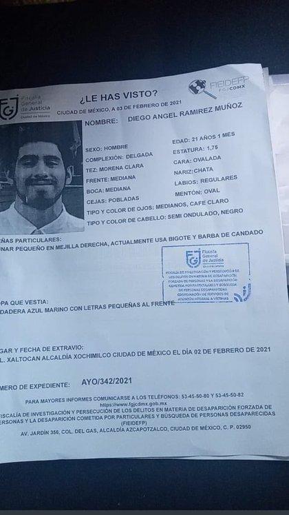 Alerta para la localización de Diego Ángel Ramírez Muñoz (Foto: Twitter@c4jimenez)