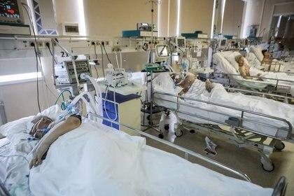 Un grupo de pacientes con COVID-19 siendo tratados en un hospital