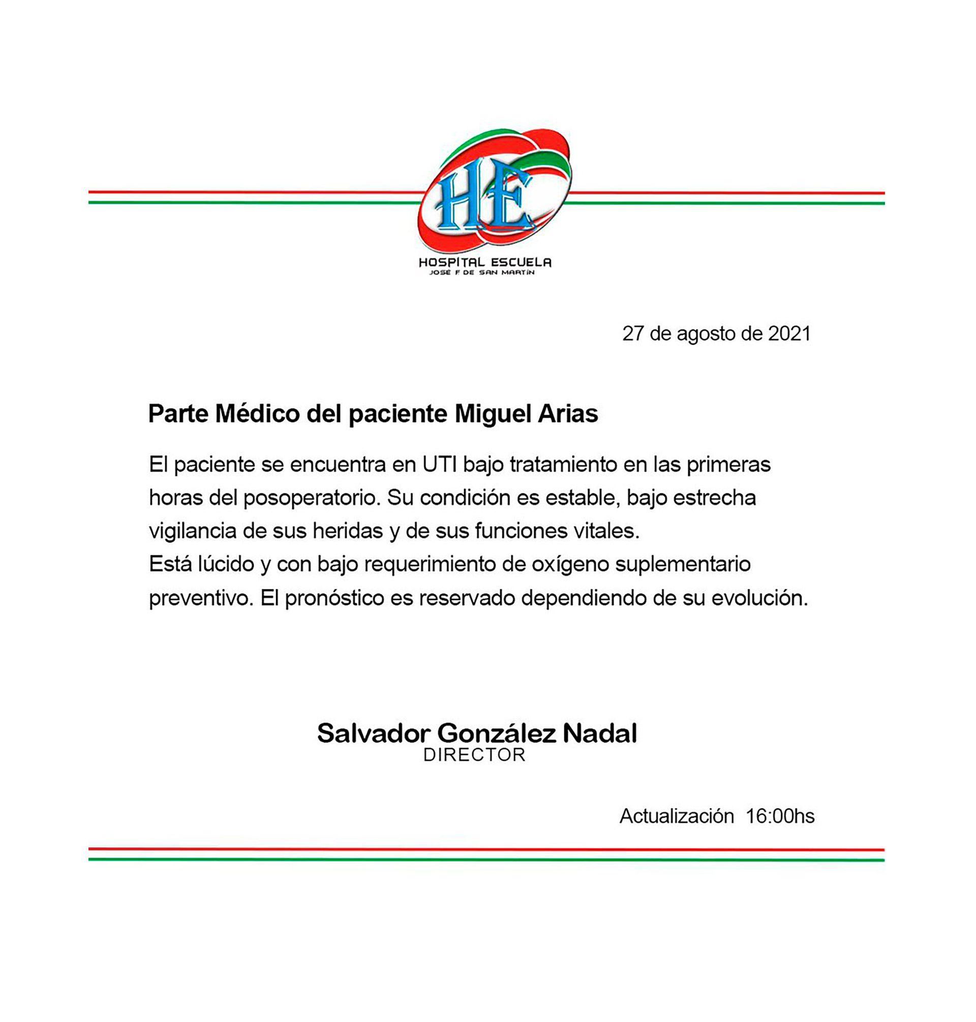 parte medico miguel arias diputado baleado corrientes