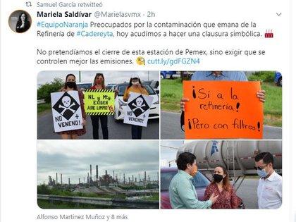 La diputada Mariela Saldívar hizo una publicación en apoyo al senador (Foto: Twitter/@Marielasvmx)