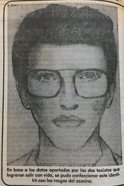 La policía hizo circular un identikit del sospechoso (Diario Clarín, 12 de octubre de 1982)