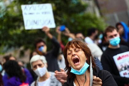 Protesta contra las medidas de prevención, en Vallecas (Reuters)
