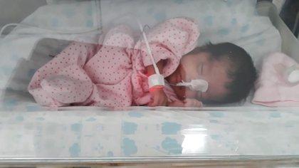 Zoe, la única nena de los cuatrillizos que nacieron en la maternidad Sardá.