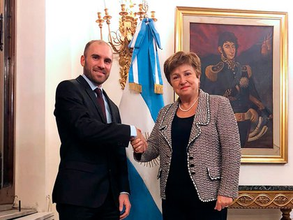 Martín Guzmán con Kristalina Georgieva, titular del FMI