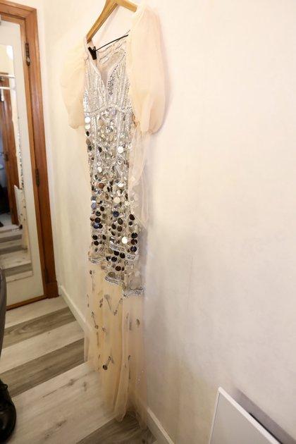 El vestido de Moria Casán para la green carpet está diseñado por Maureene Dinar. Con piedras  y tul (Chule Valerga)