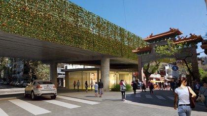 El portal del Barrio Chino, en Juramento y las vías del San Martín, cuando finalicen las obras