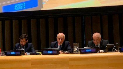 Casal, cuando le tocó exponer en la Naciones Unidas.