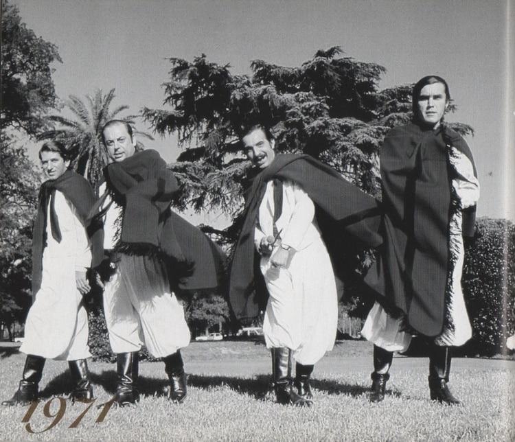 Ernesto Cabeza, Juan Carlos Saravia, Polo Román y Pancho Figueroa en 1970
