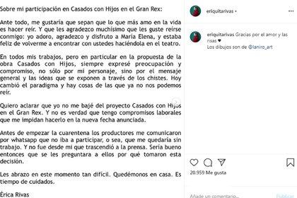 El mensaje publicado por Érica Rivas en las redes (Foto: Instagram)