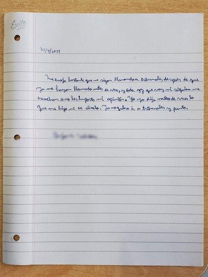 La carta escrita por el nene en la que pide no concurrir nuevamente a tribunales