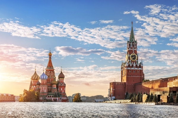 St. Basil's Cathedral and Spasskaya tower on Red Square in Moscow in the morning sun