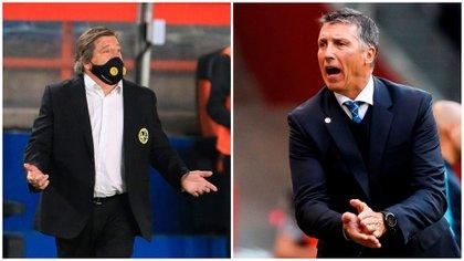 El mexicano Miguel Herrera y el uruguayo Robert Dante Siboldi, técnicos de América y Cruz Azul respectivamente (Collage: EFE)