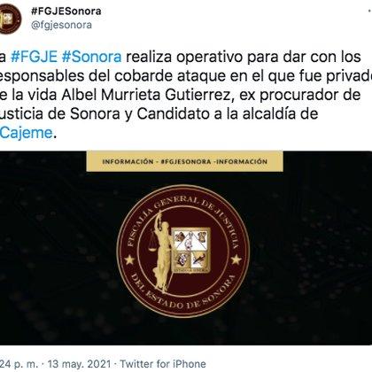 La Fiscalía General de Justicia del Estado de Sonora informó que está en marcha el operativo para dar con los responsables del delito (Foto: Twitter/@fgjesonora)