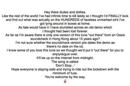 El mensaje de Noel que se publicó en la cuenta de Instagram de Oasis