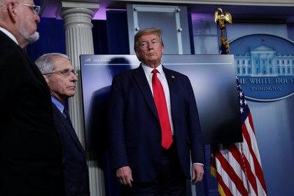Donald Trump y el principal infectólogo de la Casa Blanca, Anthony Fauci. Foto: REUTERS/Leah Millis