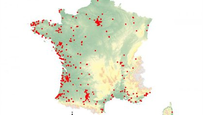 La especie está presente en 72 de los 96 departamentos de la Francia metropolitana