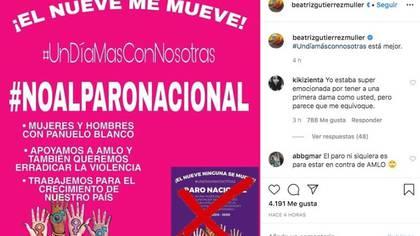 Convocatoria para #UnDíaMásConNosotras que Müller apoyó (Instagram/@beatrizgutierrezmuller)