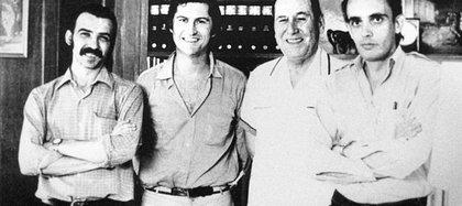 Gerardo Vallejo, Pino Solanas, Juan Domingo Perón y Octavio Getino en Madrid, 1971