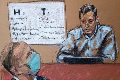 Momento en el que médico Bradford Langenfeld testifica ante la corte. REUTERS/Jane Rosenberg