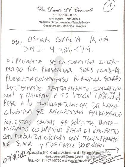 Esta es la receta del médico particular de Oscar, donde solicita que el paciente sea sometido a un tratamiento con dióxido de cloro