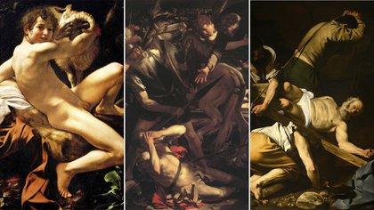 """""""Joven con un cordero"""" (1602), en Museos Capitolinos; La conversión de San Pablo (1600), en Colección Odescalchi Balbi, y """"Crucifixión de San Pedro"""" (1601), en Basílica de Santa María del Popolo, Roma, todos en Roma"""