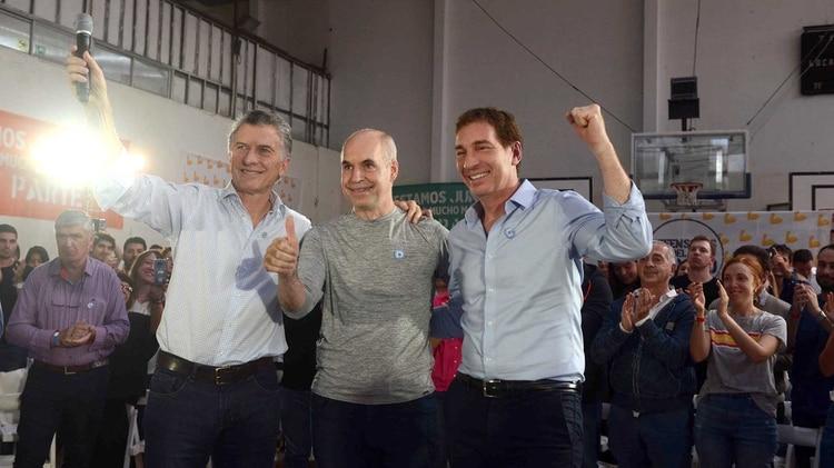Mauricio Macri, Horacio Rodríguez Larreta y Diego Santilli (Prensa Cambiemos)