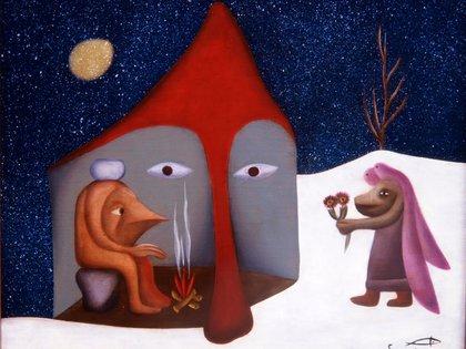 """""""Noche de frío espeso"""" (1954), de Aurelio Suárez, en el Museo de Bellas Artes de Asturias, España"""