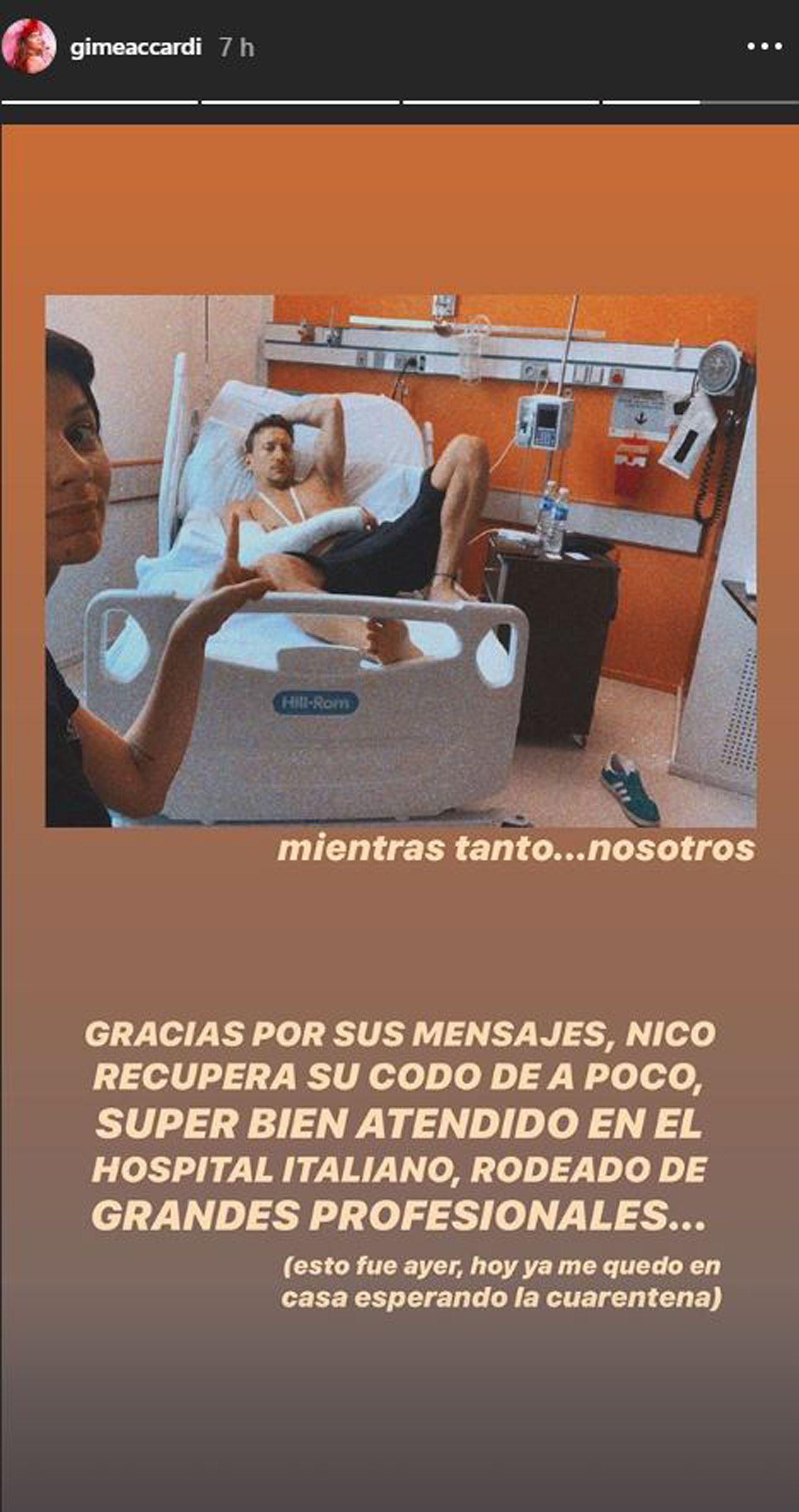 Gimena Accardi posteó un mensaje desde la clínica, acompañando a Nico en su internación, antes de la cuarentena (Foto: Instagram)