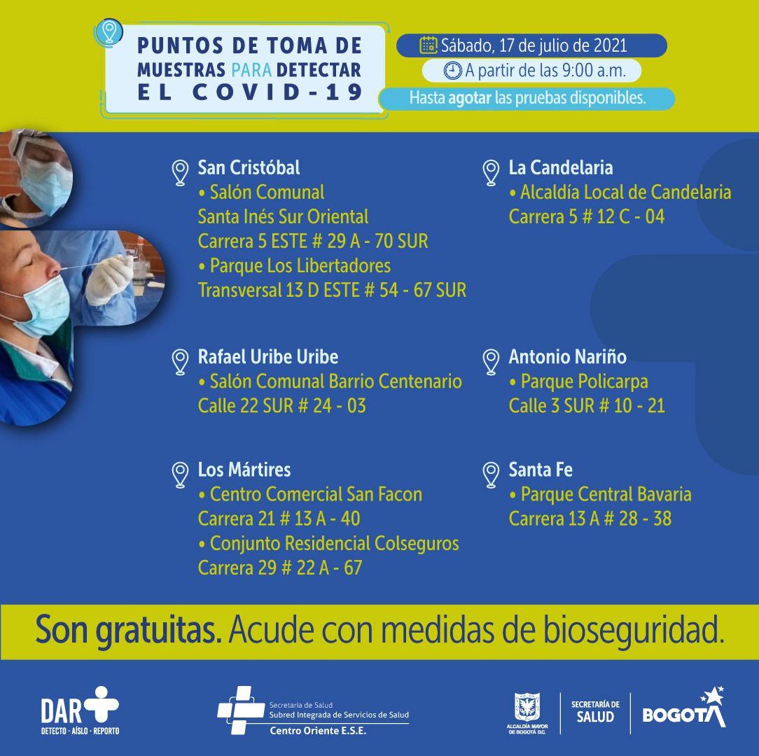 Puntos de pruebas covid-19 en Bogotá para el 17 de julio Foto: Secretaría Distrital de Salud de Bogotá
