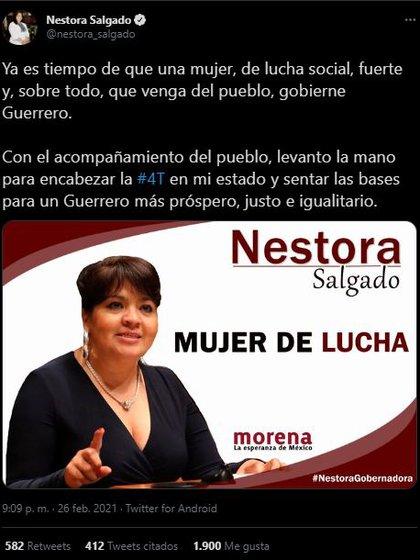 Con este tuit, Nestora Salgado dio a conocer su interés por ser gobernadora de Guerrero (Foto: Twitter@/nestora_salgado)