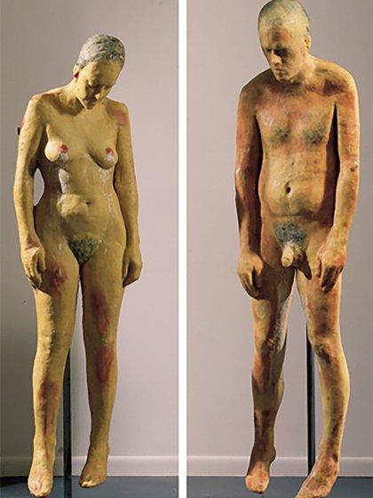 """""""Sin título"""", desnudos de mujer y varón, Kiki Smith, 1990"""