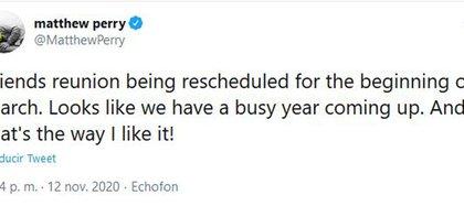 El mensaje de Matthew Perry (Foto: Twitter)